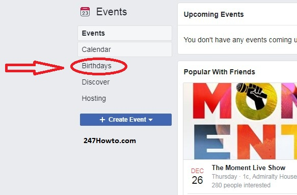List of birthdays this month on Facebook